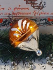 Oude/antieke kerstbal: Prachtige TOL  in oud goud met witte deco