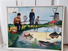 Oude Schoolplaat dubbelzijdig: DE VISSEN HADDEN GEEN ZIN. 1950-1960.