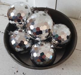 ca. 1980/90: set van 6 retro kerstballen 'discoballen'