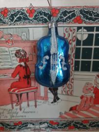 Oude/antieke kerstbal: Viool. Donker turquoise, besuikerd