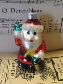 Bijzonder oude Kerstman van dik glas. Hangend of staand