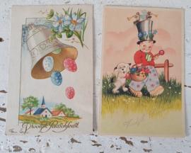 Set van 2 mooie oude/antieke Paaskaarten (oude spelling)