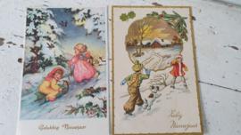 set van 2 oude kerstkaarten