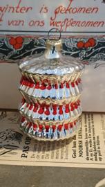 Oude kerstbal: Lampion in Zilver met rood