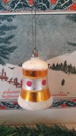 Antieke kerstbal: Klok in oud goud, besuikerd/deco aan oud hangertje. Met klepel