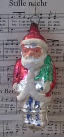 Antieke kerstbal: Prachtige grote kerstman met mooi gedetailleerd gezicht. 14 cm.!