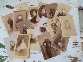 Set van 16 stuks antieke Cartes de Visite