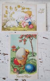 Set van 2 mooie oude/antieke Paaskaarten