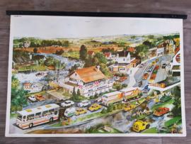 Vintage aquarel schoolplaat 'Vakantie' - jaren 70