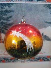 Oude/antieke kerstbal: Prachtige in elkaar overlopende kleuren, met vallende ster