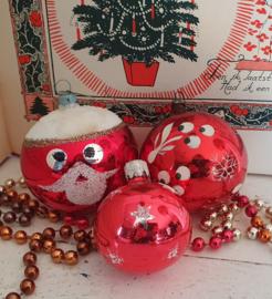 Setje van 3 superleuke vrolijke oudjes in rood