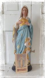 Prachtige devote Maria met goudaccenten 42 cm. hoog. + oud bidprentje