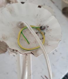 Oude Franse Brocante wandlamp met rozen