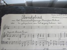 112 jaar oude PARTITUUR v.h. BONDSLIED Prov.Gron. Rederijkers-Verbond. 1907