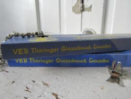 Oud doosje LAUSCHA LAMETTA. VEB Thüringer Glasschmuck DDR. Zilver