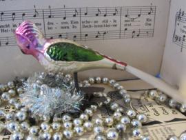 Antieke kerstbal: Kaketoe op knijper. Prachtig reliëf.