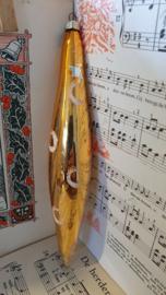 oude kerstbal: Grote pegel in oud goud. G.D.R. 20 cm. hoog!