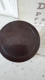 Oude JEWEHA glazen pot voor hechtmateriaal + maatflesje NEUTROVAL