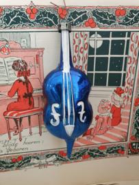 Oude/antieke kerstbal: Contrabas in blauw. Witte deco