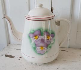 Een plaatje! Oude Franse emaille koffiepot - theepot met viooltjes!