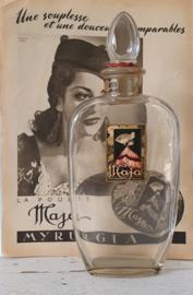 Zeldzaam! Grote MAJA Myrurgia Parfumfles met glazen stop. ca. 1920-1930 + oude advertentie
