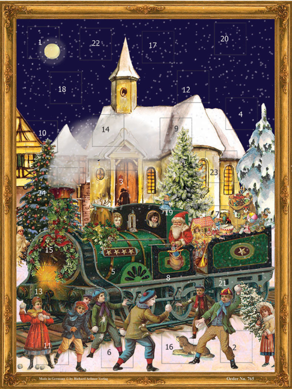 Prachtige GROTE Nostalgische Adventskalender 'DE KERSTTREIN KOMT BINNEN!. - D