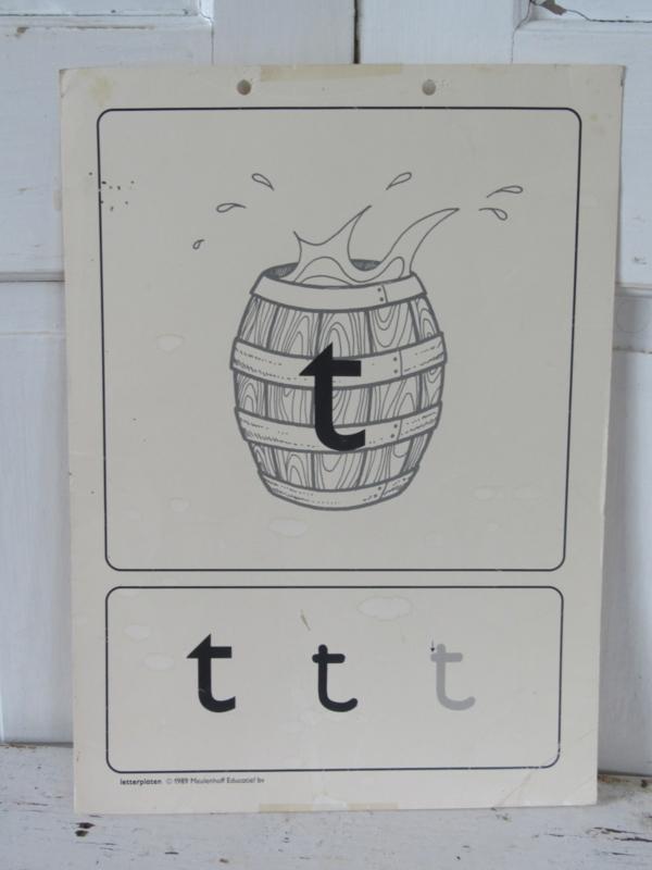 Oude Schoolplaat - Letterplaat de T van TON,   Meulenhoff 1989/1990