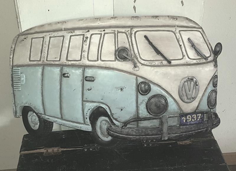 GROOT&STOER! Metalen Car Wall deco VW Bus. met 3D effect