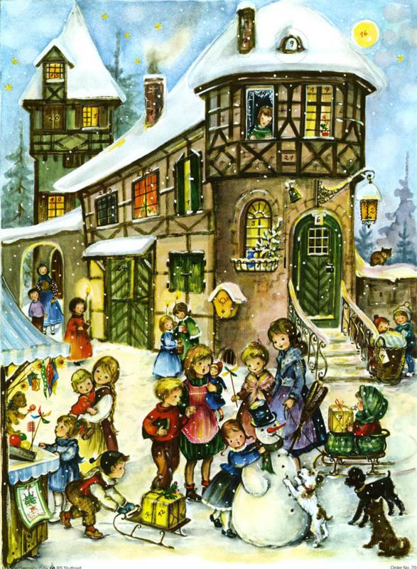Prachtige GROTE Nostalgische Adventskalender: PLEZIER IN DE SNEEUW! - G