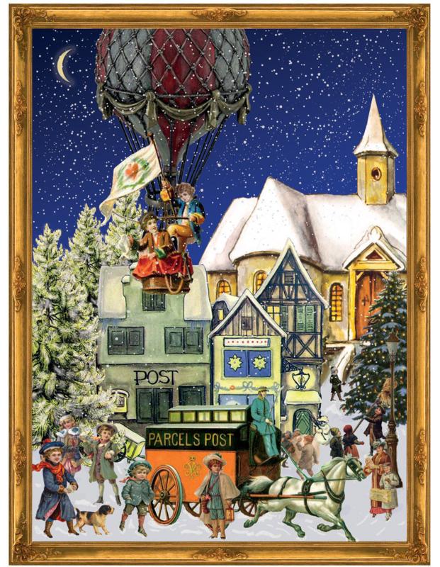 Prachtige GROTE Nostalgische Adventskalender: HETELUCHTBALLON & POSTKOETS in kerstsfeer - F