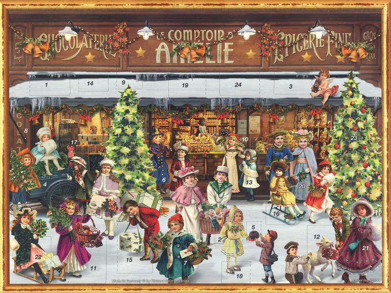 Prachtige GROTE Nostalgische Adventskalender:  DRUKTE BIJ DE KERSTWINKEL! - E
