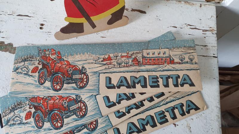 Oude/antieke Verpakking LAMETTA (zilver) met prachtige afbeelding. Lauscha