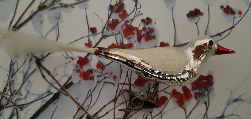 Oude/antieke kerstbal: Vogel op clip met besuikerde vleugels