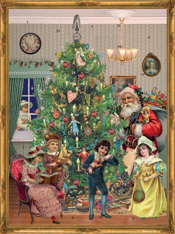 Prachtige GROTE Nostalgische Adventskalender: DE KERSTMAN IS ER! - H