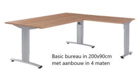 Huislijn Basic bureau 200x90cm met aanbouw 46x80cm (en andere maten)