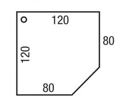 Bureau Pinta aanbouw CAD 120 x 120 x 80 x 80cm