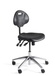 Werkstoel laag PU rug en zitting, aluminium onderstel