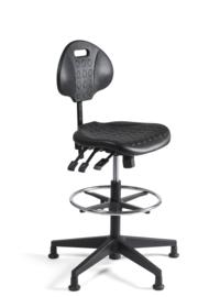 Werkstoel Hoog / kassastoel PU rug en zitting, kunststof onderstel