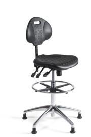 Werkstoel Hoog / kassastoel PU rug en zitting, aluminium onderstel