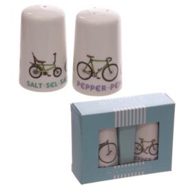 Peper en zoutstel met afbeelding van een fiets