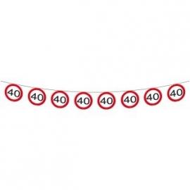 Vlaggenlijn Verkeersbord 40 jaar 12m