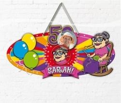 Deurbord Sarah 50 jaar.
