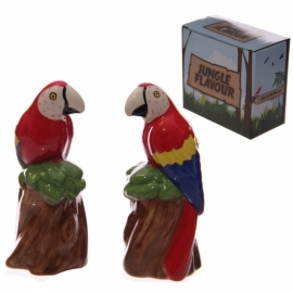 Keramiek papegaai peper en zoutstel