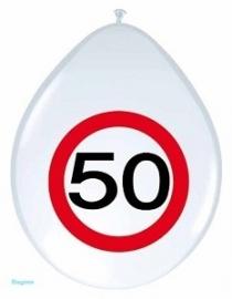 Ballon 30cm verkeersbord 50 jr pak a 8st