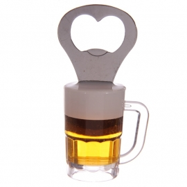 Bierglas koelkastmagneet & flessenopener, rond