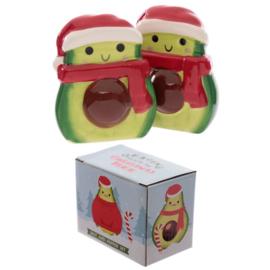 Kerstmis avocado peper en zoutstel