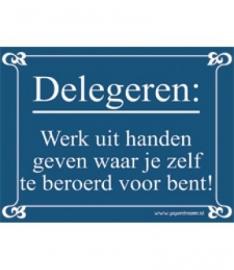 Delegeren: Werk uit handen geven waar je zelf te beroerd voor bent! (Breedte 16 cm Lengte 21 cm)