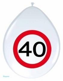 ballon 30cm verkeersbord 40 jr pak a 8st