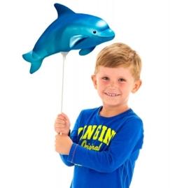 Mini folieballon Dolfijn blauw