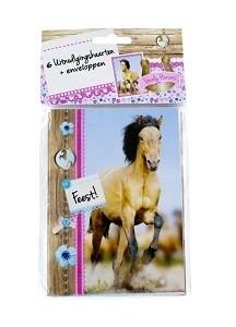 Paard Pak à 6 uitnodigingskaartjes en 6 enveloppen